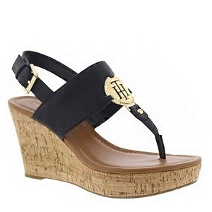 Tommy Hilfiger Black Gold Manne Wedge Sandal NIB